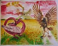 draci na řípu akvarel ukázka tvorby marie ladrová